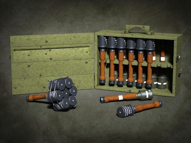 Armes et munitions illustration 3d
