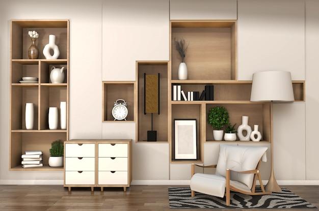 Armoire en bois sur le mur d'étagère de la salle minimaliste et intérieur japonais du salon zen