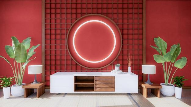 Armoire en bois en rouge intérieur vide chambre sstyle, rendu 3d