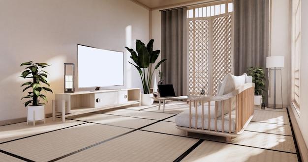 Armoire dans le salon avec sol en tatami et canapé fauteuil design.rendu 3d