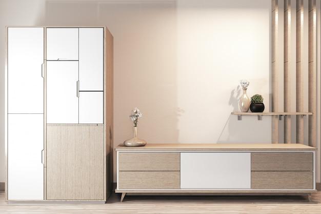 Armoire design en bois et armoire tv design japonais en bois sur la pièce intérieur minimal