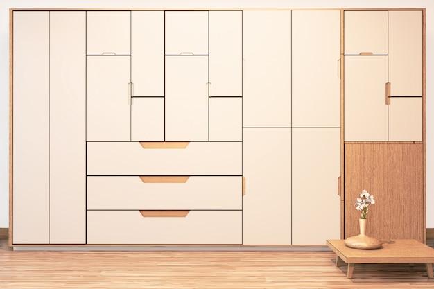 Armoire murale moderne en bois de style japonais sur un intérieur minimal de la salle vide rendu 3d