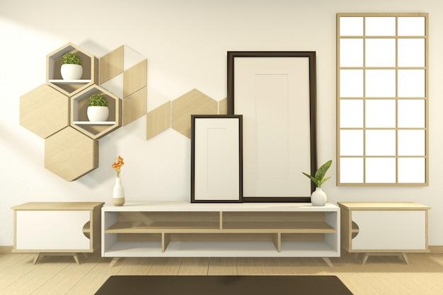 Armoire de scène en bois design d'intérieur chambre de style tropical. rendu 3d