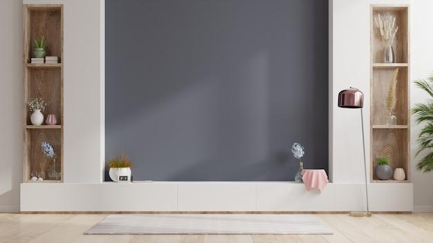 Armoire tv dans une pièce intérieure vide, mur sombre avec étagère en bois, lampe, plantes et bois de table, rendu 3d