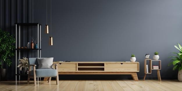 Armoire tv dans un salon moderne, intérieur d'un salon lumineux avec fauteuil sur mur sombre vide.
