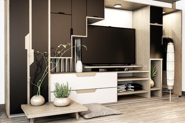 Armoire tv mix penderie étagère en bois de style japonais et décoration de plantes sur étagère.rendu 3d