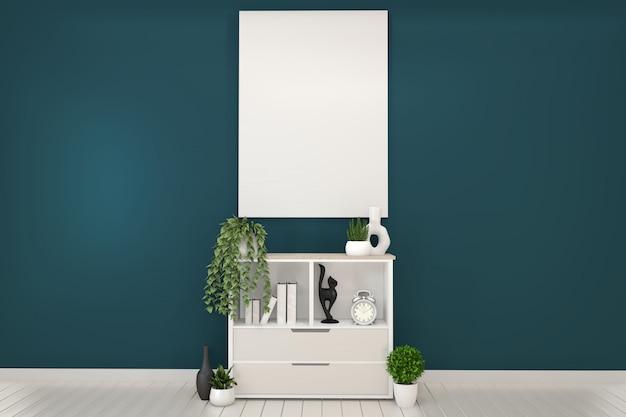 Armoires blanches et blanches dans une chambre et un décor vert foncé. rendu 3d