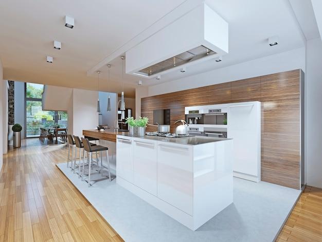 Armoires de cuisine et bar de comptoir avec texture bois et appareils de cuisine en blanc.