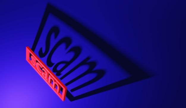 Arnaque au mot de rendu 3d avec ombre au sol concept d'arnaque de pirate anonyme en ligne
