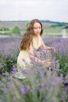 Aromathérapie et concept de récolte. belle jeune femme aux cheveux longs de race blanche dans une robe jaune clair recueille la lavande.