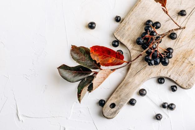 Aronia melanocarpic (aronia melanocarpic) sur une table en bois.