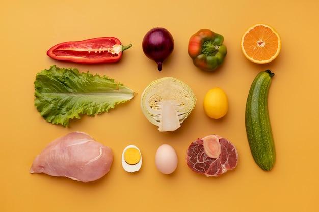 Arrangement d'aliments sains vue de dessus