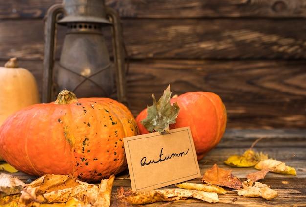 Arrangement d'automne avec citrouilles et lanterne rouillée