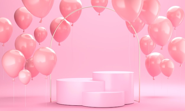 Arrangement de ballons roses avec scène