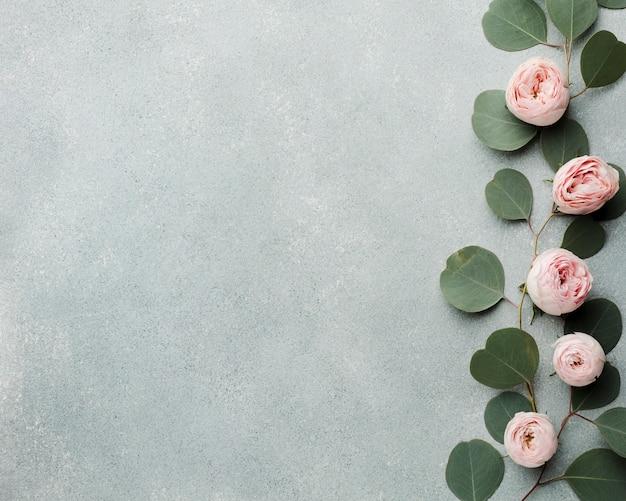 Arrangement de branches et roses avec espace copie