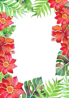Arrangement de cartes à l'aquarelle avec des feuilles tropicales et des fleurs