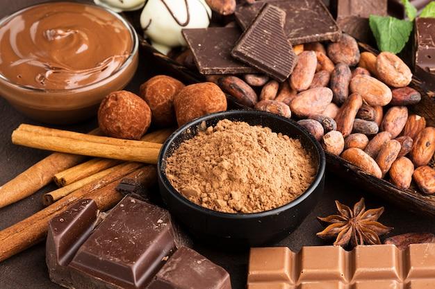 Arrangement de chocolat délicieux