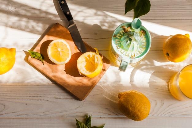 Arrangement de citrons vue de dessus
