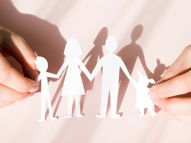 Arrangement de concept de famille avec des ombres