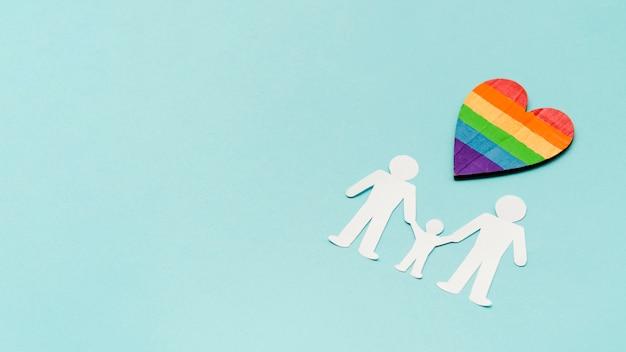 Arrangement créatif pour le concept de famille lgbt avec espace copie