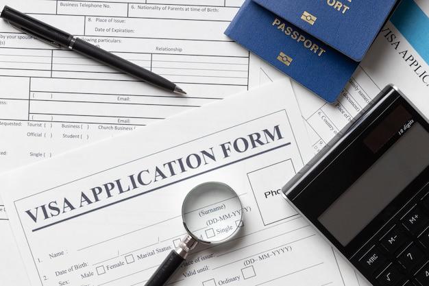 Arrangement de demande de visa vue de dessus