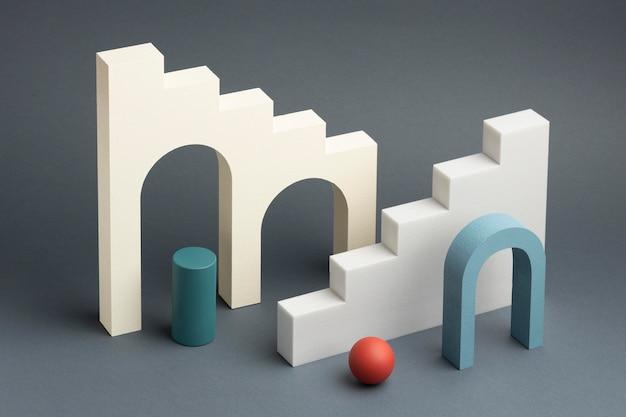 Arrangement d'éléments de conception 3d abstrait