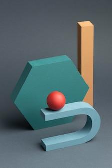 Arrangement d'éléments de conception abstraite en rendu 3d