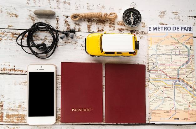 Arrangement des éléments de voyage