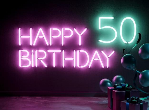 Arrangement festif du 50e anniversaire au néon