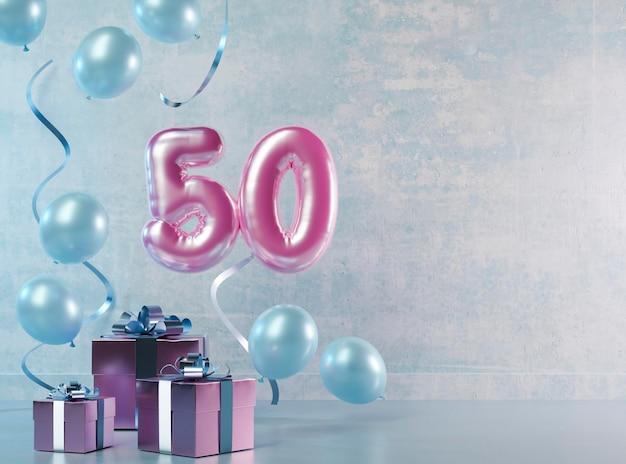 Arrangement Festif Du 50e Anniversaire Avec Des Ballons Photo gratuit