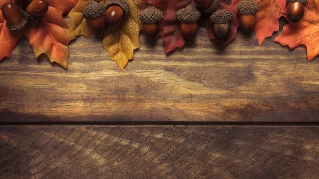 Arrangement de feuilles et glands d'automne exquis