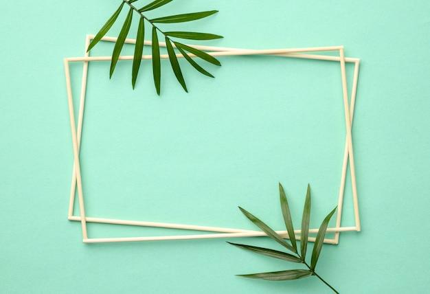Arrangement de feuilles vertes avec cadre vide
