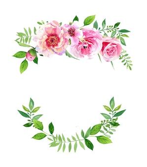 Arrangement de fleurs de pivoine aquarelle et renoncule isolé sur fond blanc