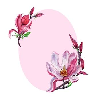 Arrangement floral, couronne florale avec des fleurs de magnolia, isolé
