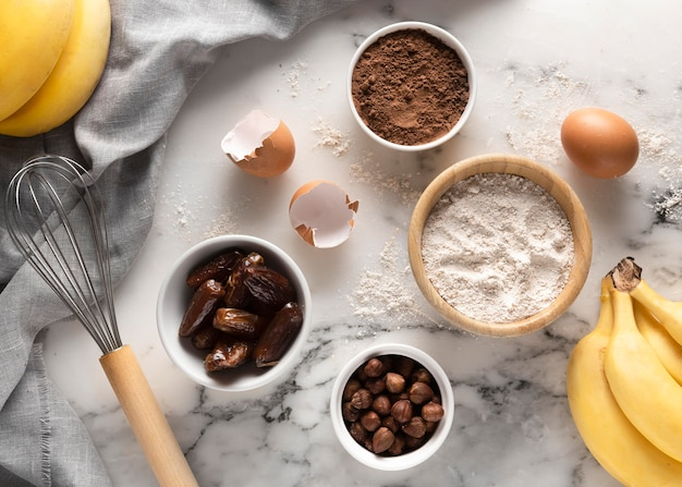 Arrangement d'ingrédients délicieux de recettes saines