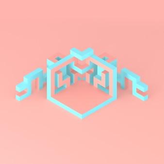 Arrangement isométrique abstrait d'un cube en expansion