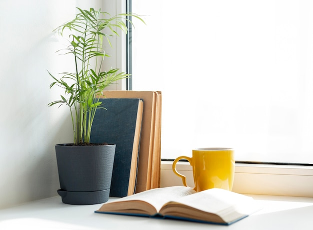 Arrangement avec des livres et une tasse jaune