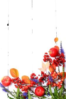 Arrangement de livret d'automne de baies et de fleurs sur fond de bois blanc vue d'en haut