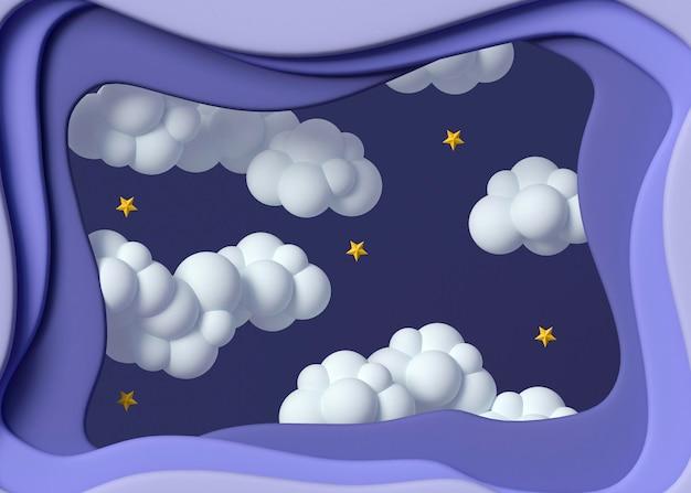 Arrangement de nuages et étoiles 3d