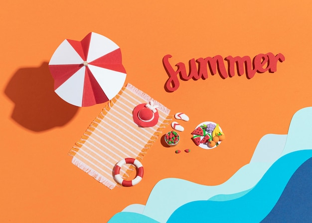 Arrangement de plage d'été fabriqué à partir de différents matériaux
