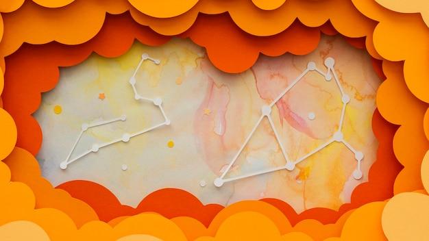 Arrangement de planètes en papier créatif plat
