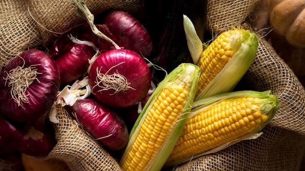 Arrangement plat de délicieux légumes d'automne