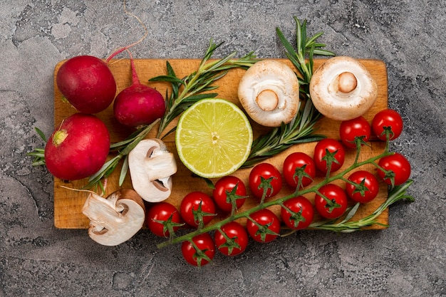 Arrangement plat de légumes
