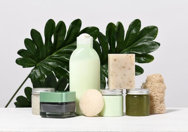 Arrangement de produits de soins de la peau avec des feuilles de palmier