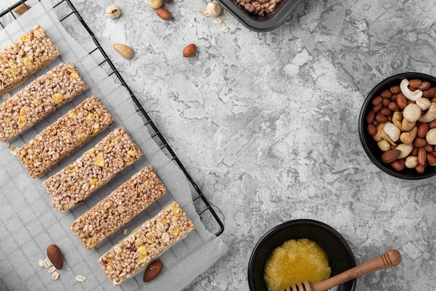 Arrangement de snack-bars sans sucre