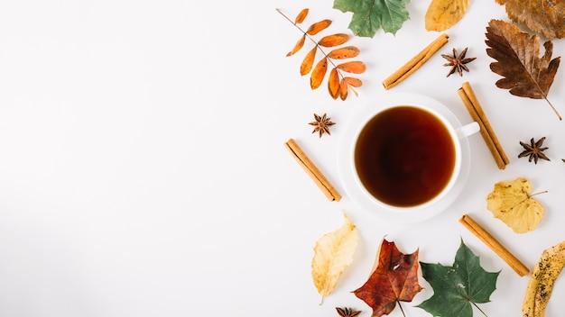 Arrangement de tasse à thé et de feuillage