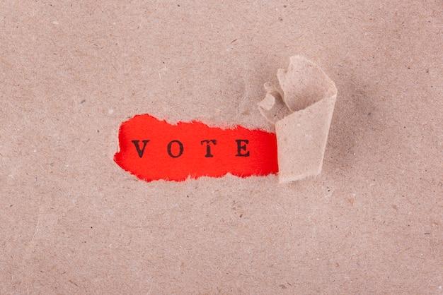 Arrangement de vote de style papier vue de dessus