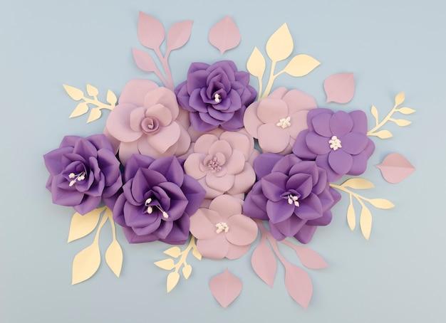 Arrangement de vue ci-dessus avec de belles fleurs en papier
