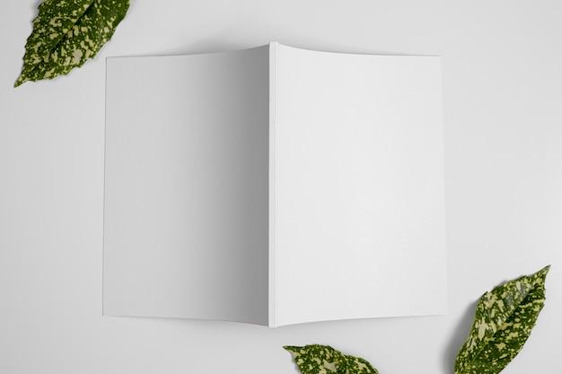 Arrangement de vue de dessus avec des feuilles naturelles et un magazine vierge