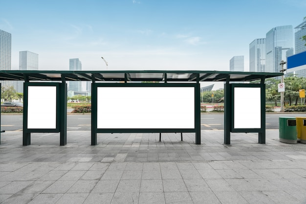 Arrêt de bus, panneau d'affichage, scène, shenzhen, porcelaine